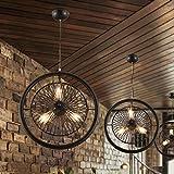 LilaminsThebox Sepia industrial Wind decke Leuchter Wohnzimmer Restaurant decke Kronleuchter Geschäfte Wind elektrische Ventilatoren Kronleuchter Studie, 42 * 30 cm Loft