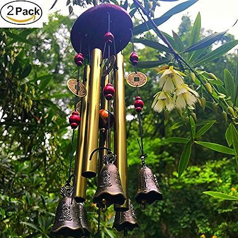 Windspiel Wind Glocken Bronze Chime 4Röhren 5Bronze Glocken Sounds Crisp für Yard Garten Outdoor Innen Schlafzimmer