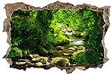 DesFoli Wald Dschungel Regenwald 3D Look Wandtattoo 70 x 115 cm Wanddurchbruch Wandbild Sticker Aufkleber D320