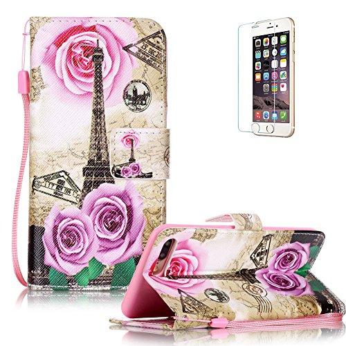 """Für iPhone 7 Plus 5.5"""" Gurt Strap Magnetverschluß Ledertasche Hülle,Für iPhone 7 Plus 5.5"""" Premium Seil Leder Wallet Tasche Brieftasche Schutzhülle,Funyye Stilvoll Jahrgang [Bunt Muster] Schutzhülle W Rose Turm"""