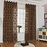 prelikes decorativo cortinas burbujas círculo Impreso térmica Blackout ventana cortinas, poliéster, marrón, 100 cm x 250 cm