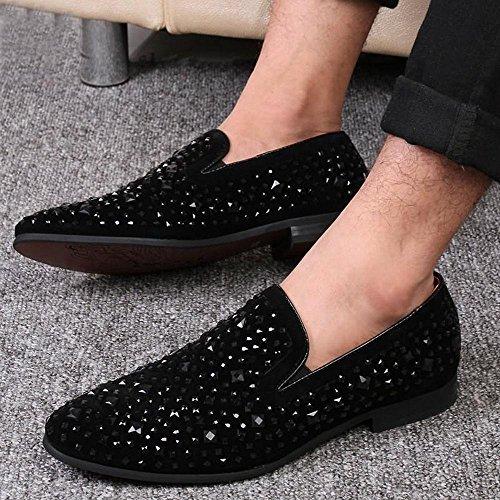 RDJM Scarpe da ginnastica da uomo, scarpe di cuoio scarpe da rivetto nero black