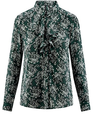 oodji Collection Donna Camicetta in Tessuto Fluido con Volant Verde (6912E)