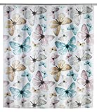Wenko 22487100 Duschvorhang Butterfly, wasserdicht, pflegeleicht, Kunststoff (PEVA), 180 x 200 cm, mehrfarbig