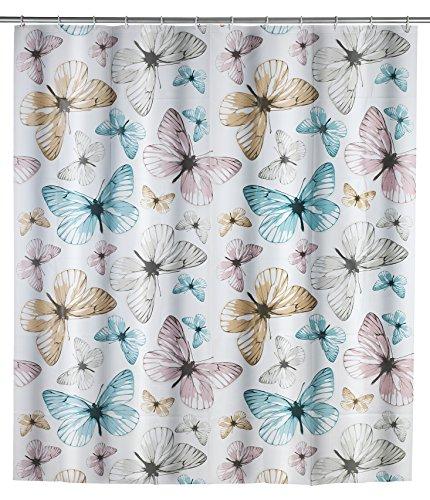 WENKO 22487100 Duschvorhang Butterfly, wasserdicht, pflegeleicht, Polyethylen-Vinylacetat, 200 x 180 cm, Mehrfarbig