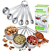 AckMond Stainless Steel 10pcs Measuring Cups and Spoons Combo Set/Tablespoons Measuring Set for Dry and Liquid Ingredients - Prefect for Cooking or Baking