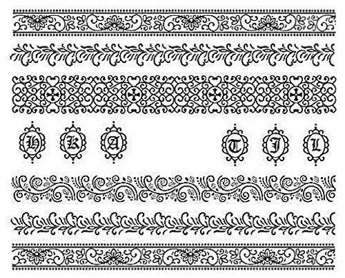 Nail art manucure stickers ongles décalcomanie scrapbooking: bandes noires fleuries