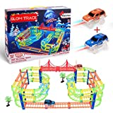 Glow Twister Tracks Autorennbahn Twister Truck Magic Glow Tracks E-Auto Konstruktionsspielzeug Starter Set für Kinder ab 3 Jahren mit Neon Rennbahn für kreative Rennstrecken 2 leuchtende Autos Spielzeug 5 Meter