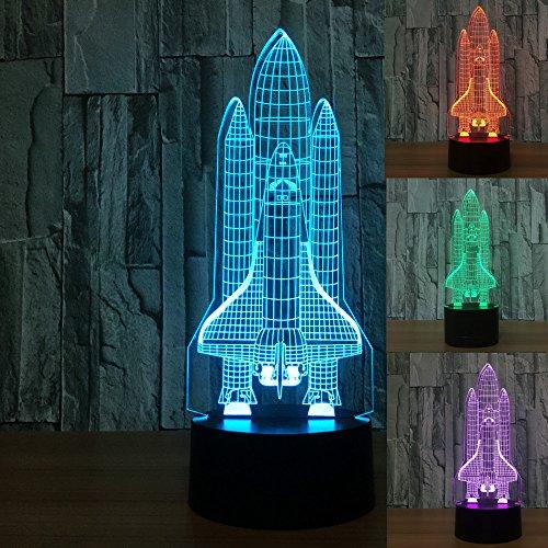 3D rakete Optische Illusions-Lampen, Tolle 7 Farbwechsel Acryl berühren Tabelle Schreibtisch-Nachtlicht mit USB-Kabel für Kinder Schlafzimmer Geburtstagsgeschenke Geschenk