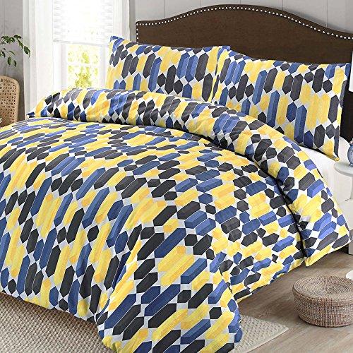 3-teiliges Geo blau Geometrische Einzelbett Bettwäscheset, Bettbezug Kissenbezug Bettwäsche Set Doppelbett Super King Size, Polycotton, blau, King Size