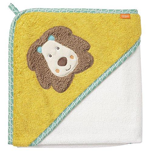 Fehn 066258 Kapuzenbadetuch Löwe/Bade-Poncho aus Baumwolle mit Löwen Motiv für Babys und Kleinkinder ab 0+ Monaten/Maße: 80x80cm (Über Löwe-kopf)