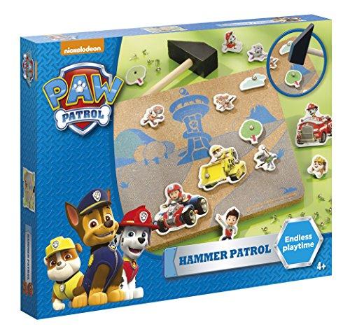 Paw Patrol - Hammer Patrol Bastel-Set: Korkplatte mit Szenenvordruck, verschiedenen Formen, Nägel und Holzhammer