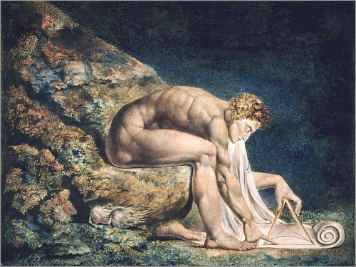 Poster 80 x 60 cm: Isaak Newton von William Blake - Hochwertiger Kunstdruck, Kunstposter