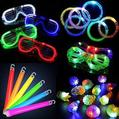 30 Stück LED leuchten Party Favor Spielzeug Set-LED Party Pack mit LED-Zubehör - 12 LED blinkende holprige Ringe, 6 LED Blase Armbänder, 6 LED-Gläser und 6 LED Glowsticks (Partyspielzeuge 02)