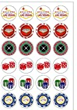 61isz5UfC0L. SL160  - NO.1 BETTING 24 PRECUT Las Vegas Casino Poker Chip Themed Edible Wafer Paper Round Cake Toppers Decorations