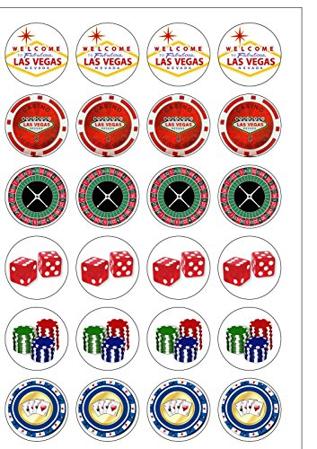 NO.1 BETTING 24 PRECUT LAS VEGAS CASINO POKER CHIP THEMED EDIBLE WAFER PAPER ROUND CAKE TOPPERS DECORATIONS