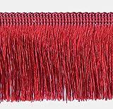 3,0 m x Fransen 60 mm breit Dunkelrot / Rot / 3,0 m -6,0 m-9,0 m usw / Fransenborte Posamentenborte Bordüre Decoborte Spitzenborte Shabby Chic Posamentenborte Dekoborte Borte Brokat Spitze Antik Jugendstil Barock