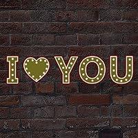 Regalo San Valentín Bistro Letra LUCES BRILLA EN LA OBSCURIDAD I LOVE YOU Alfabetos Mural Noche