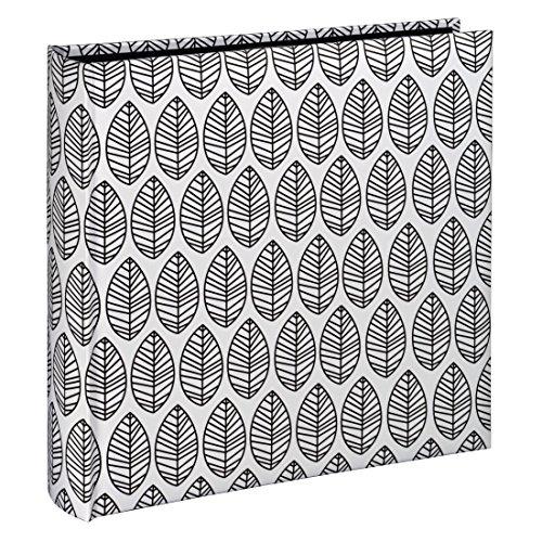 Hama Fotoalbum La Fleur, Jumbo Album mit 100 schwarzen Seiten, für 400 Fotos im Format 10x15, Blätter-Muster, 30x30, XXL Fotobuch weiß