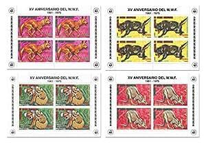La nature animale timbre Fonds mondial pour la nature WWF fixé pour les collectionneurs avec 16 timbres sur 4 feuilles de menthe - Guinée équatoriale