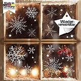 Fensterbild Wunderschöne Schneeflocken im Set - WIEDERVERWENDBAR - 24 filigrane Aufkleber Schneeflocken und Sterne von Wandtattoo-Loft
