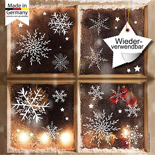 Fensterbild Wunderschöne Schneeflocken im Set - WIEDERVERWENDBAR - 24 filigrane Aufkleber Schneeflocken und Sterne von Wandtattoo-Loft®