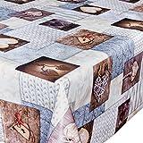 Wachstuchdecke Wachstuch Wachstuchtischdecke abwaschbare Tischdecke Liebe Zopfmuster Optik Winter Herz 160 x 140cm