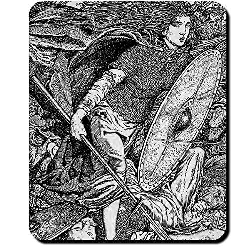 Lathgertha Darstellung Lathgertha Lithographie Morris Meredith Williams 1913 Walküre Ragnar Lodbrok Schildmaid Wikinger - Mauspad Mousepad Computer Laptop PC #16114