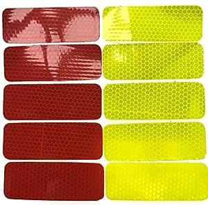 Warnaufkleber lot de 100 10 x 38 mm-rouge-jaune-autocollant pour la voiture, remorque, la moto, etc.