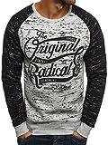 OZONEE Herren Sweatshirt Langarmshirt Sweatjacke Motiv Pullover Aufdruck Pulli J.STYLE DD11 2XL GRAU
