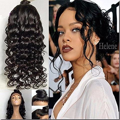 Helene Hair 2016 Gran venta de la onda natural Peluca Brasileño Virgen Cabello Humano Cabello frente del cordón Pelucas con el pelo del bebé para Mujer 180% Densidad ( 24 Pulgada