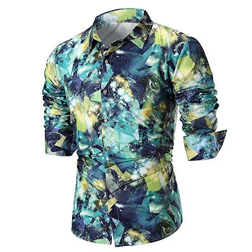 DNOQN Herren Slim Fit T Shirt Longsleeve Poloshirt Mit Brusttasche Sommer Lässige Slim Langarm Bedrucktes Hemd Top Persönlichkeit Bluse Grün 2XL