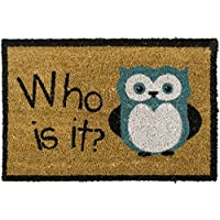 Get Goods Cocco Doormats – 22 motivi assortiti, Rough Cocco/posteriore nero in gomma antiscivolo, 60 x 40 cm, Coro, Who Is it?, 60 x 40