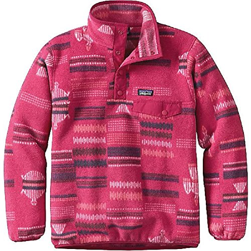 Patagonia Girls Lightweight Synchilla Snap-T Fleece Pullover (XL, River Tribe/Craft Pink) Patagonia Synchilla-snap