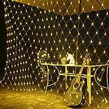 KOBWA LED Vorhang Lichter 200 LEDs 3m x 2m Vorhang-Licht Mit IP44 wasserfest Sternen Licht 8 Modi Für Weihnachten Neujahr Party Hochzeit Home Decoration(Warmweiß)