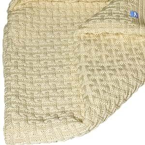 Wallaboo Couverture tricot Eden, Pure laine Mérinos, Couverture tricotée qualité extraordinaire, Ecru