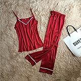 Wanglele Señoras Eslinga Casual Pantalones Pijamas Traje De Desgaste De La Casa De Veraneo De La Bata De Seda Tamaño Sueltos, M, Rojo