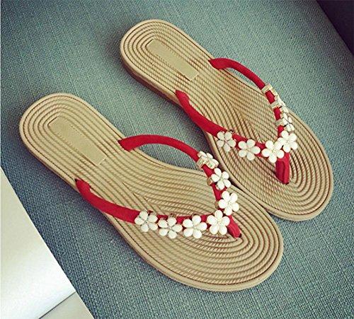 Mme sandales plates florales des sandales plates et pantoufles sandales et chaussures confortables femmes Red