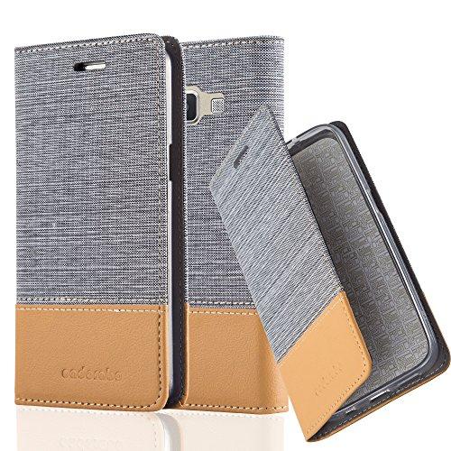 Preisvergleich Produktbild Cadorabo Hülle für Samsung Galaxy A3 2015 (5) - Hülle in HELL GRAU BRAUN – Handyhülle mit Standfunktion und Kartenfach im Stoff Design - Case Cover Schutzhülle Etui Tasche Book