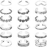 CNNIK 18 Pezzi Anelli a snodo regolabili vintage Set di anelli aperti per le ragazze con confezione regalo