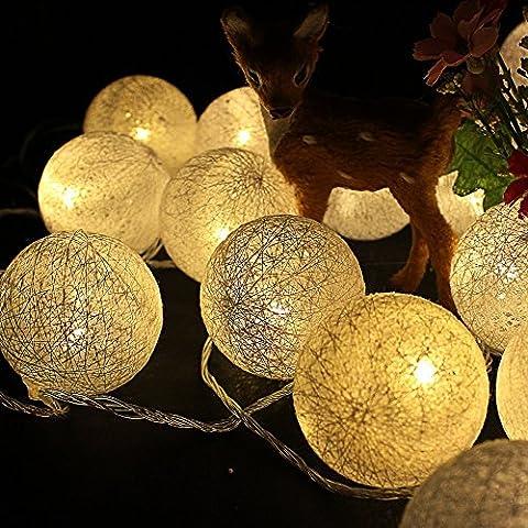 Zofei 5M 20 guirlande lumineuses led ~deco lumineuse jardin ~Guirlande Lumineuse coton boule Interieur LED~Décoration pour noël lumière vacances maison, 6cm balle EU 220V - blanc