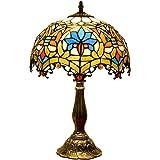 Siunwdiy Vintage Tiffany Lampe De Table Pastorale Vitrail Style Chambre Lampe Lampe De Chevet E27 Lampe De Lecture W12 H19 Po