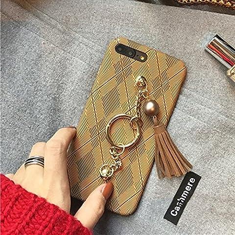 Housse Étui pour iPhone 7 plus, Coque Pour iPhone 7 Plus Prismatic Pattern Couverture complète Hard Protective Back Case avec Tassels Pandent & Hand Chain ,pour iPhone 7 plus (2016) ( Color : Khaki