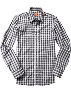 BOSS Orange Herren Hemd Baumwolle & Mix Oberhemd Kariert, Größe: S, Farbe: Grau