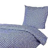 Hans-Textil-Shop Bettwäsche 135x200 80x80 cm, Karo 1x1 cm, 52% Baumwolle und 48% Polyester, pflegeleicht, Bettbezug, Bettwäschegarnitur, Bettwäscheset (Blau)