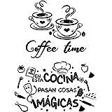 2pcs Pegatinas Pared Cocina Decorativas con Frases Españoles Vinilos Letras Stickers Adhesivos Comedor Cafetería Restaurante