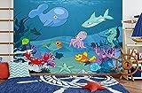selbstklebende Fototapete - Kinderbild - Kinderbild Unterwasser Tiere X - Meerestiere Cartoon - 300x200 cm - Tapete mit Kleber – Wandtapete – Poster – Dekoration – Wandbild – Wandposter – Wand – Fotofolie – Bild – Wandbilder - Wanddeko