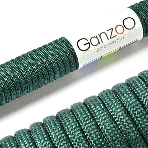Paracorde 550, corde de survie à usages multiples et ultra-résistante, corde de parachute, corde gainée en nylon, longueur totale: 31m, couleur: vert foncé - ATTENTION: NE PAS UTILISER CETTE CORDE POUR L'ESCALADE, de la marque Ganzoo