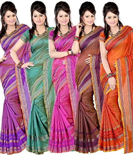 Nilesh Fab Chitnadu Cotton Sarees(Pack of 5)