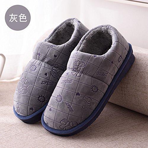 DogHaccd pantofole,In inverno il cotone pantofole coppie autunno inverno piscina anti-slip di cotone spessa shoes home pacchetto soggiorno con cotone pantofole uomini e donne. Grigio1